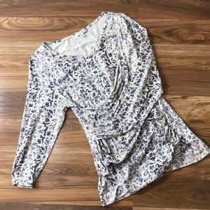 CAbi Faux Wrap White Leopard Print 3/4 Sleeve Top